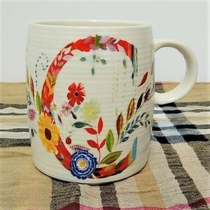 "Anthropology Coffee Mug Monogram ""C"" Petal Pallet"